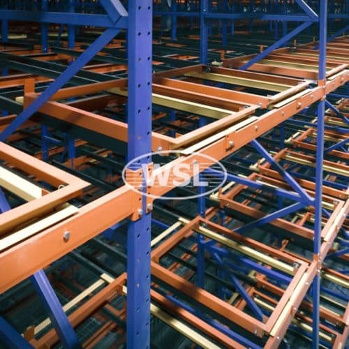 Pushback Pallet Racking in orange and blue finish