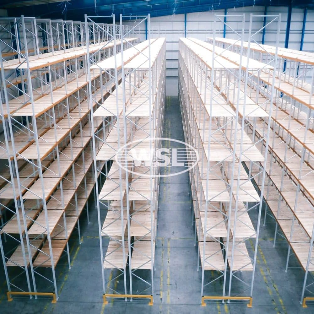 Aerial view of a Narrow Aisle Racking System in a large warehouse