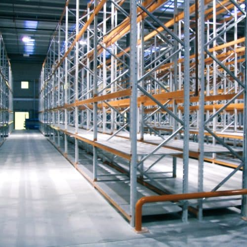 Wide Aisle Racking example with protection barriers